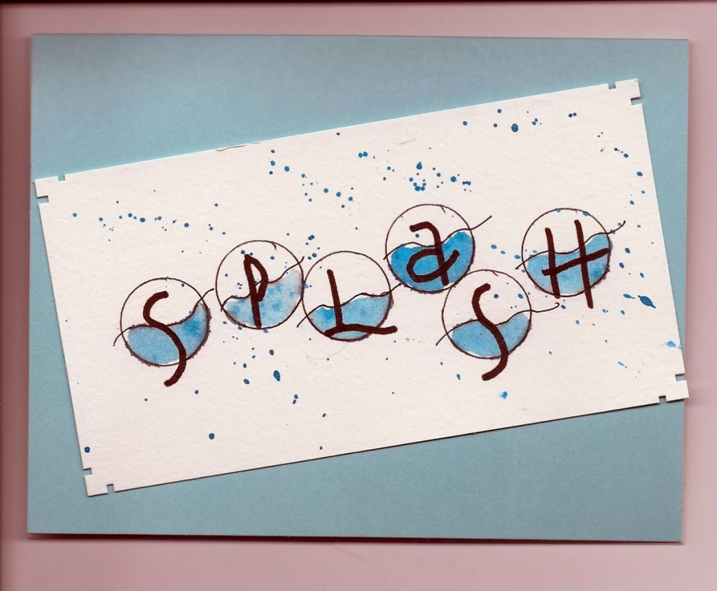 water alphabet card with splash drops