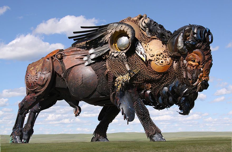 cool-welded-scrap-metal-sculptures-bison