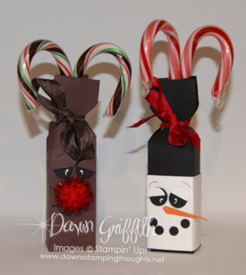 Dawn's Rudolph and Snowman candy holders