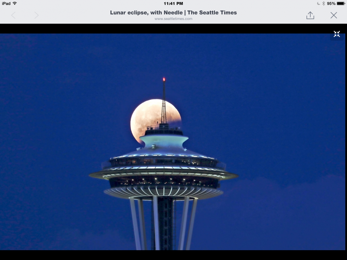 space needle and the blood moon