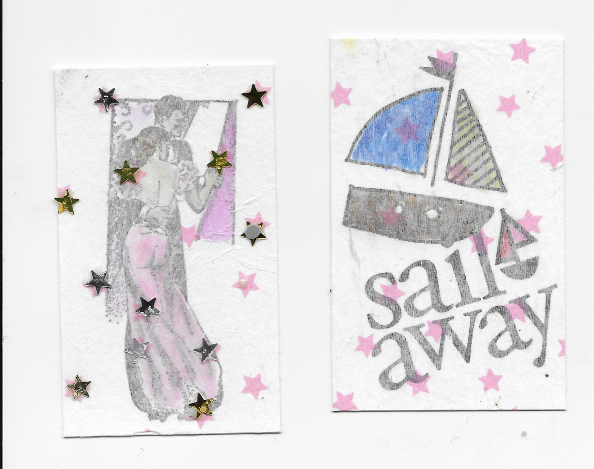 stamped images then colored then layered the star tissue paper