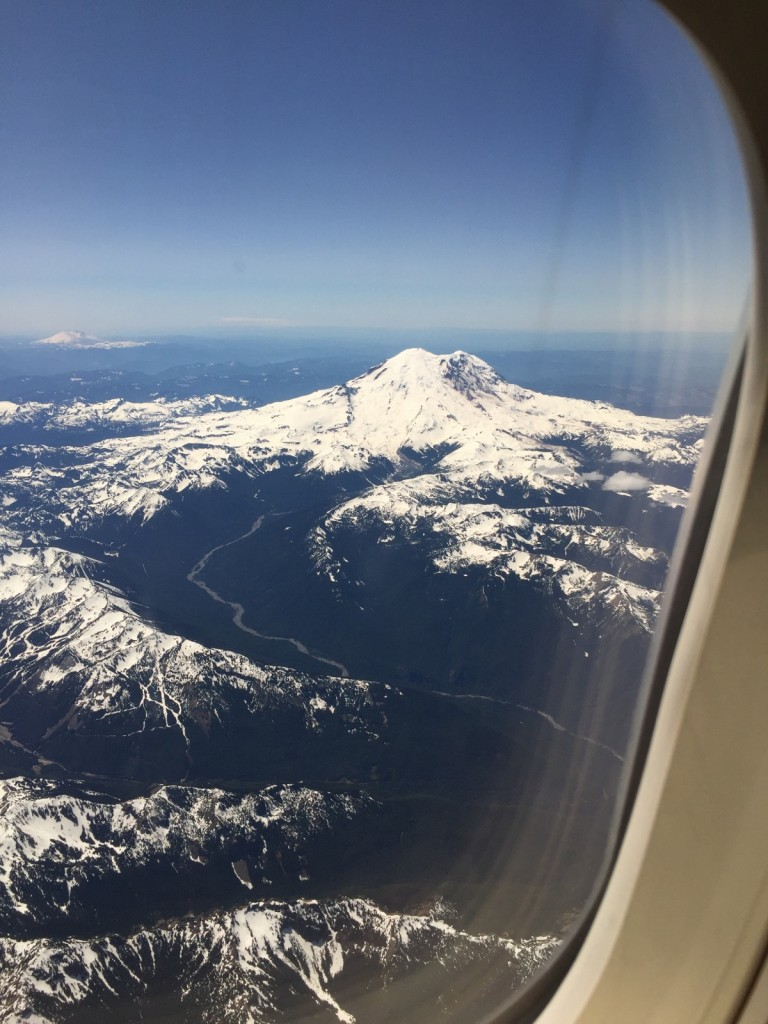 my Mt Rainier out plane window before landing